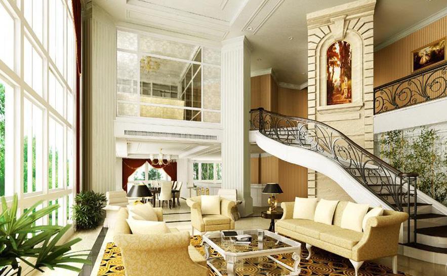 复式楼简欧风格挑空客厅装修效果图图片