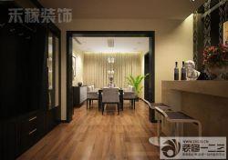 餐廳淺棕色木地板設計圖