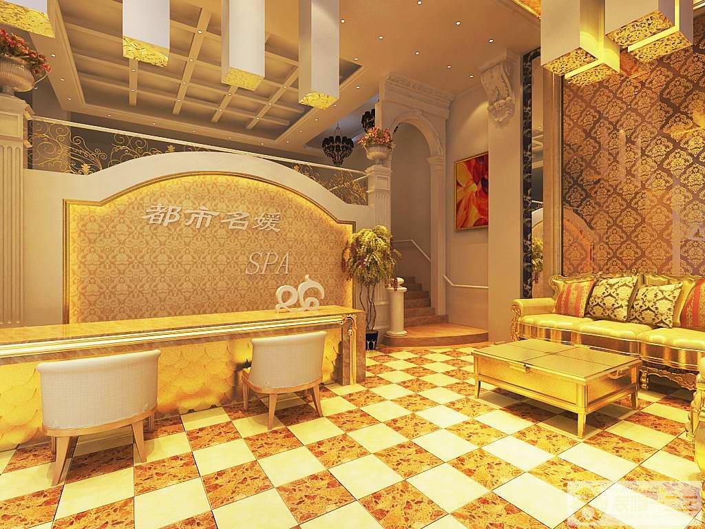美容院前臺背景墻壁設計圖片