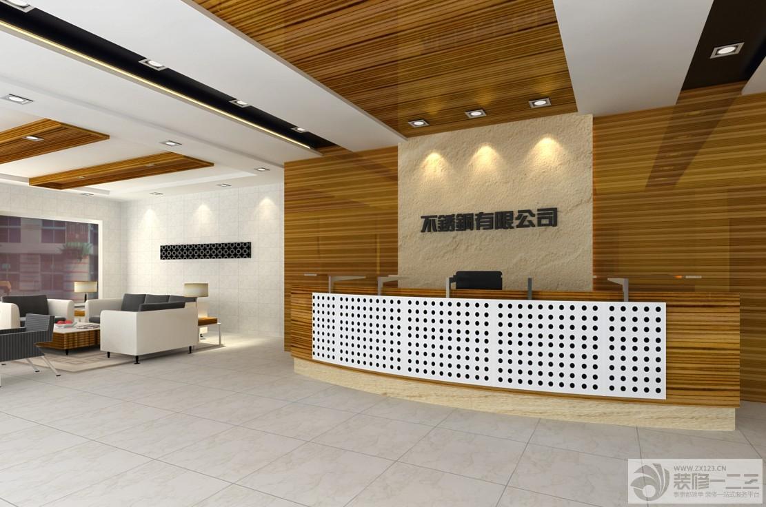 办公室前台木质背景墙装修设计效果图