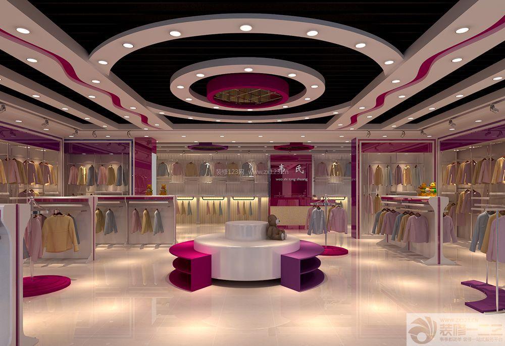 商铺设计图 服装店面设计 时尚女装店面 白色地砖 射灯 灯带 石膏板