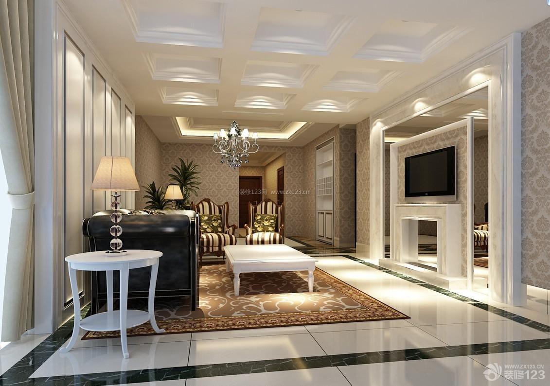 简约装修设计 客厅影视墙 简欧客厅 欧式花纹壁纸 电视背景墙 背景墙