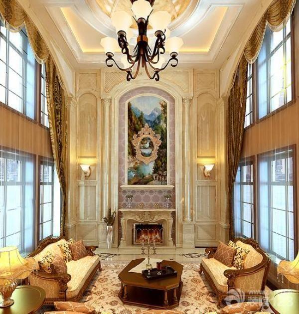 3,装饰画:欧式风格装饰的房间仍选用线条繁琐,看上去比较厚重的画框图片