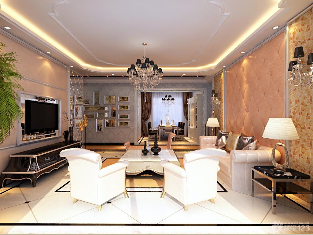 三室两厅客厅吊顶造型装修设计效果图_装修123效果图