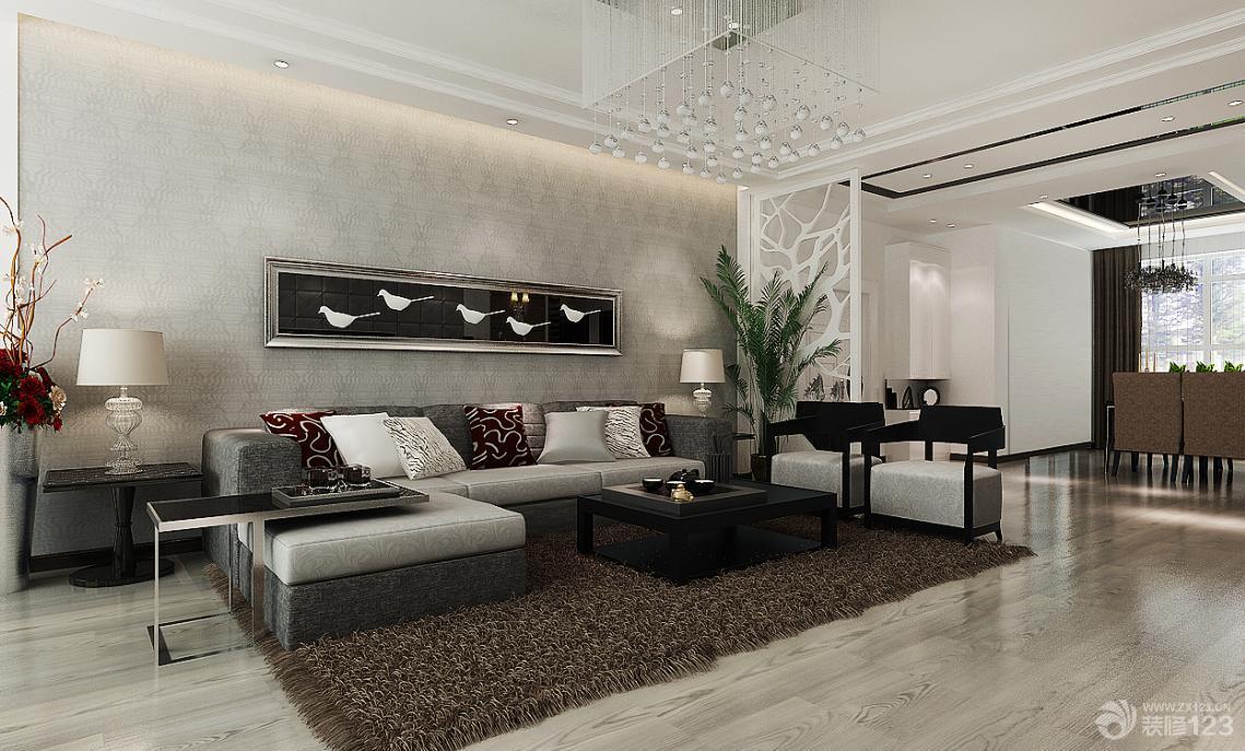 现代客厅暗花壁纸装修效果图片