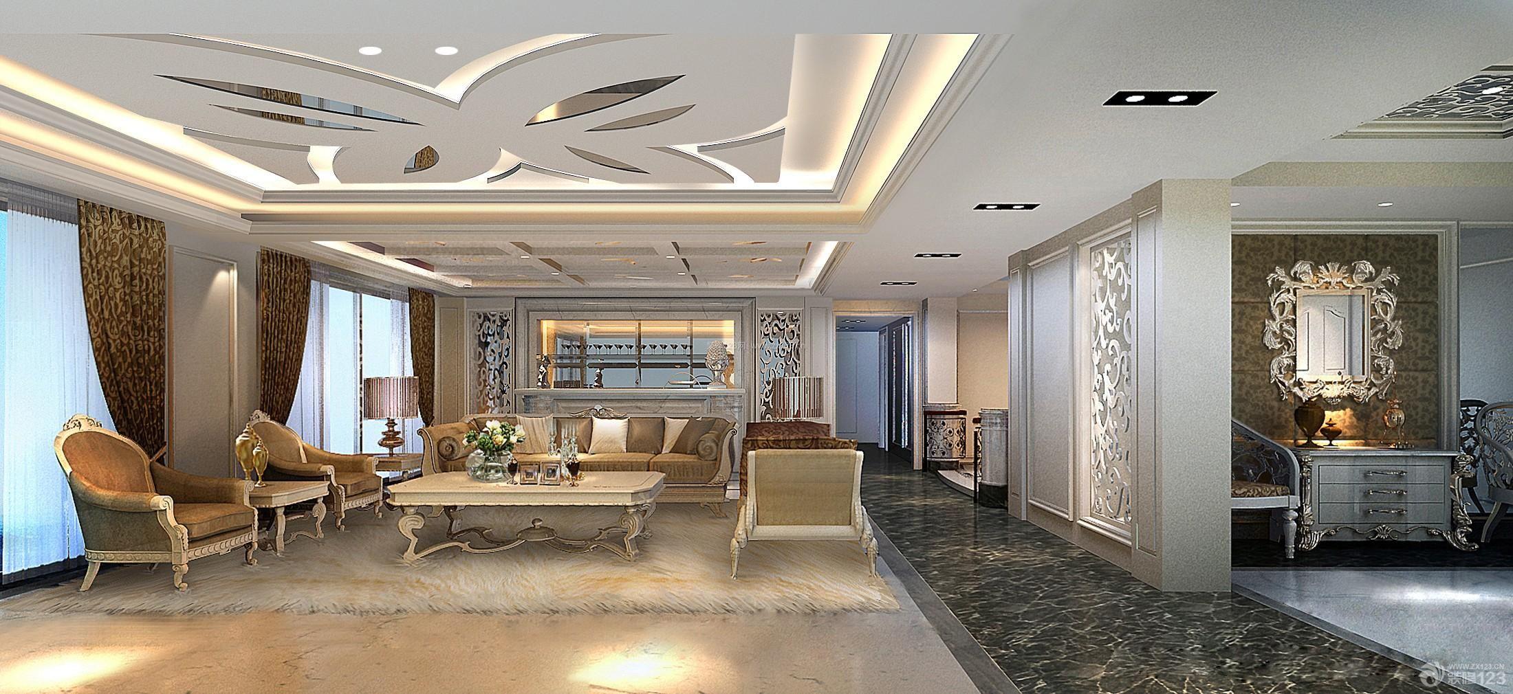 现代简约欧式风格客厅吊顶造型效果图