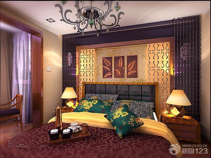 东南亚风格卧室花纹壁纸设计效果图
