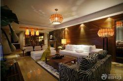 東南亞風格客廳沙發背景墻裝修圖片