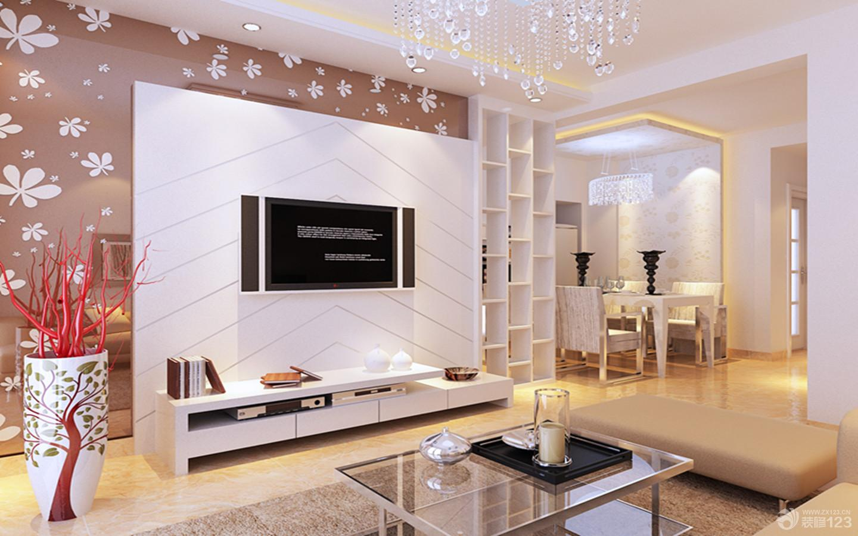 新中式客廳裝修  新中式床頭背景墻_風景520 現代簡約風格影視墻-現代