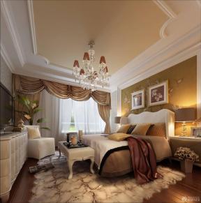 简欧式卧室背景墙壁纸装修效果图