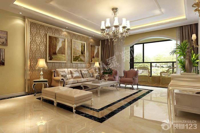 简欧式客厅背景墙装饰装修效果图图片