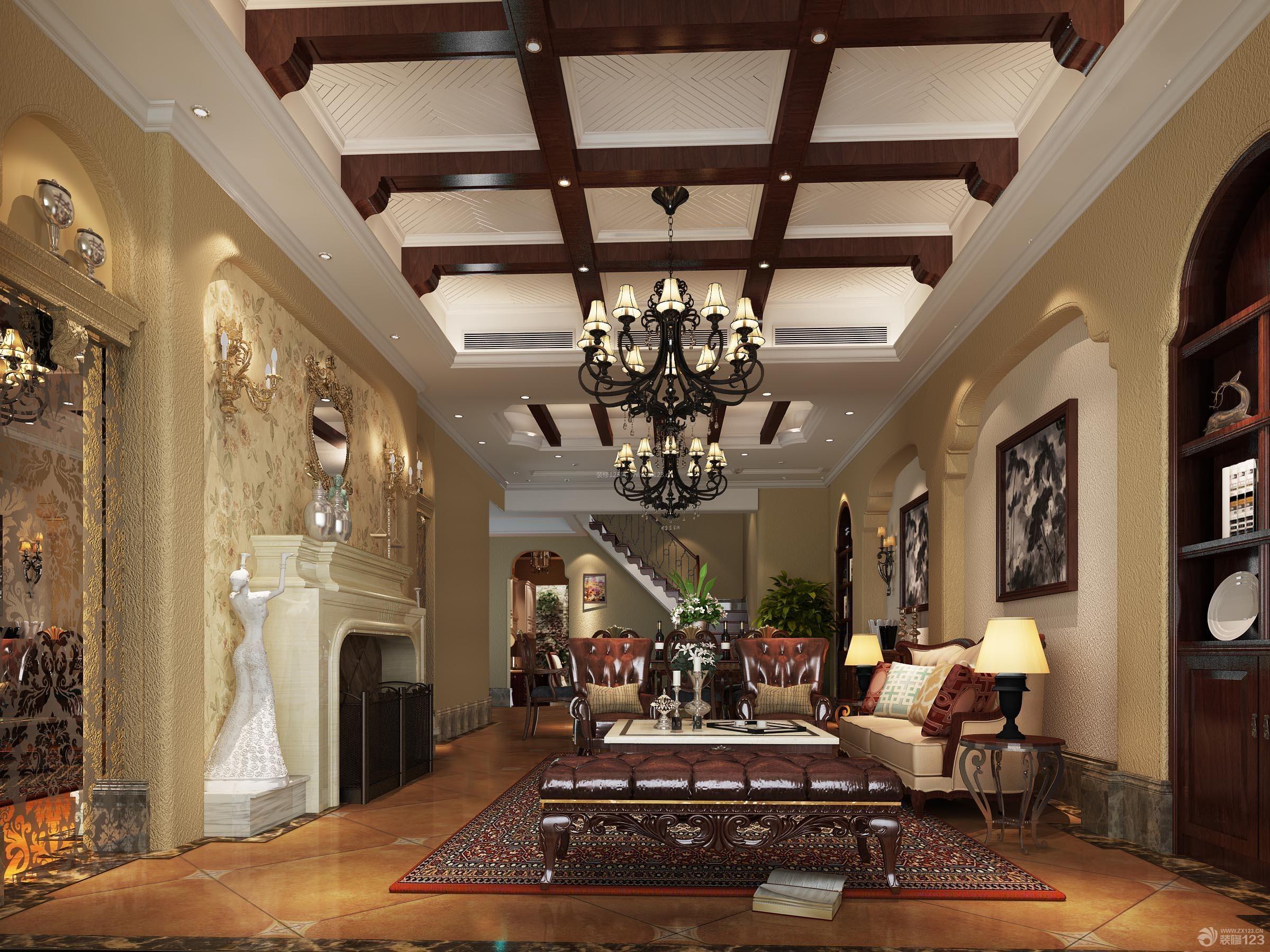 客厅豪华别墅装修效果图图片