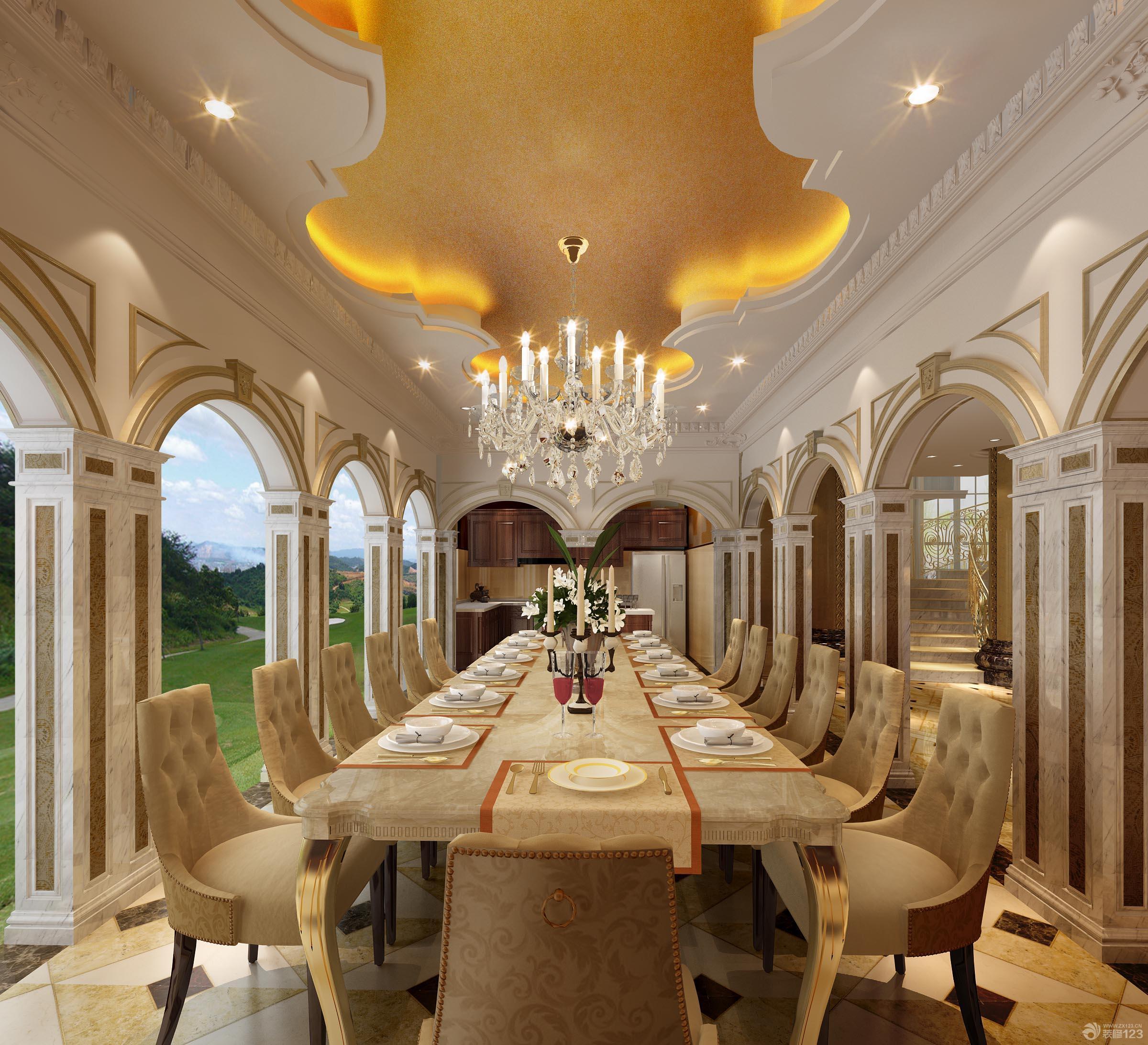 古典欧式餐厅方餐桌装修效果图