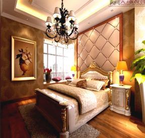 简约欧式卧室床头背景墙装修效果图