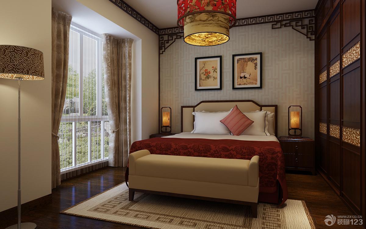 (1200x750)-新中式风格小卧室床头背景墙装修