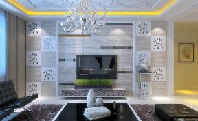 客厅影视墙 电视背景墙设计 瓷砖背景墙 悬空柜 布艺窗帘 纯色窗帘