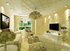 田园风格沙�_三室两厅一卫 田园风格家居 客厅装修设计 圆形茶几 边几 布艺茶几