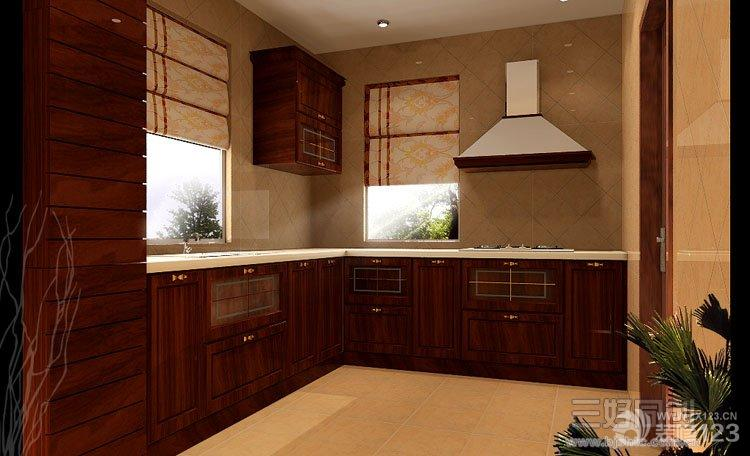 美式风格厨房实木橱柜效果图