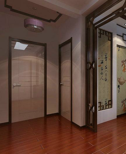 中式风格设计家庭玄关深棕色木地板效果图