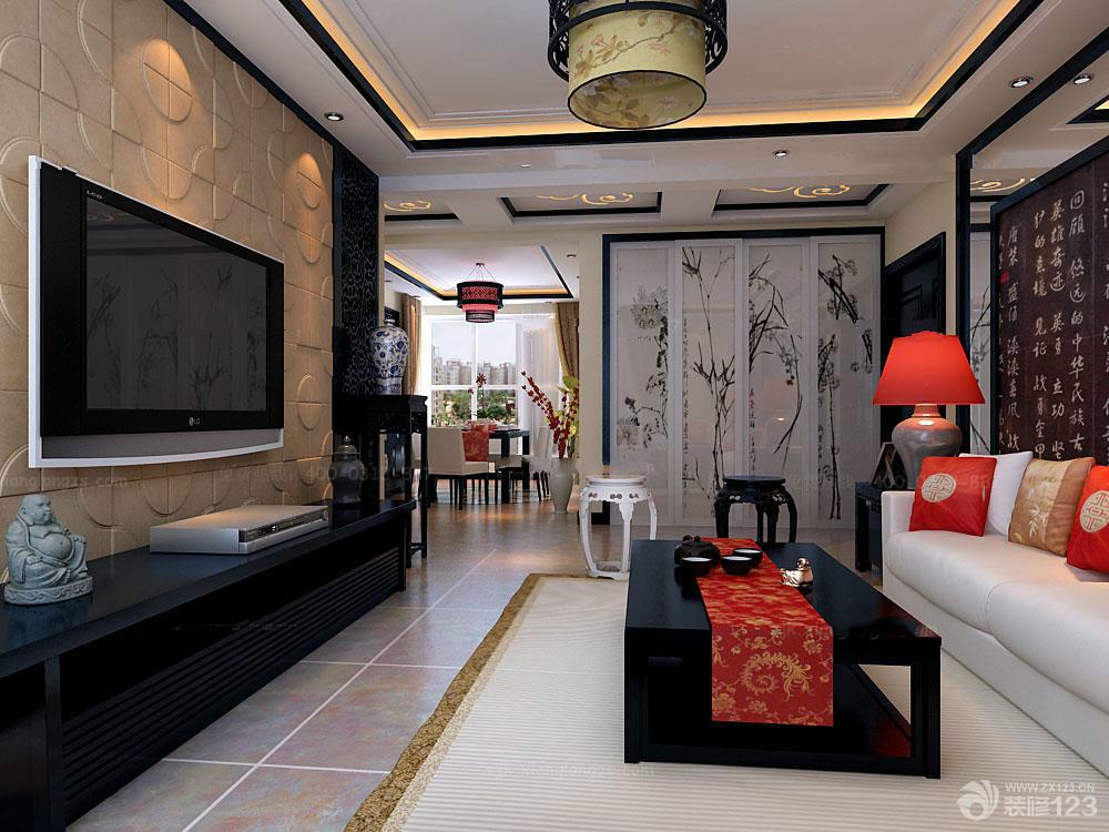 客厅中式壁纸装修设计效果图图片