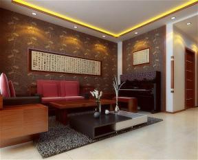 现代中式风格客厅装饰中式壁纸装修效果图
