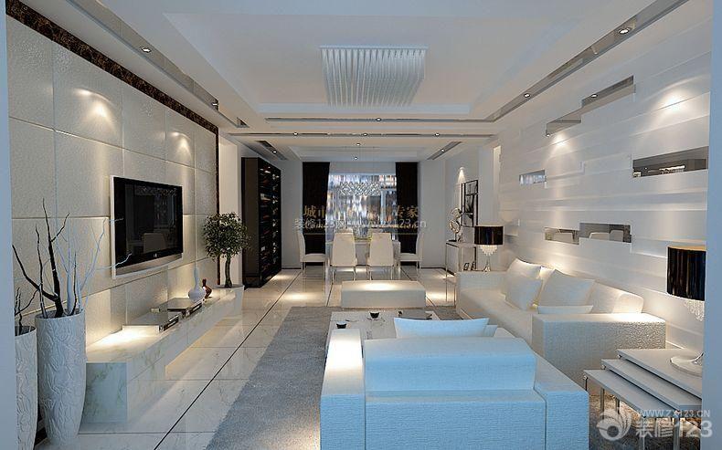 简约风格设计房屋客厅背景墙造型装修效果图