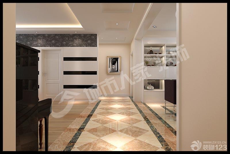 走廊玄關拼花地磚波打線裝修效果圖