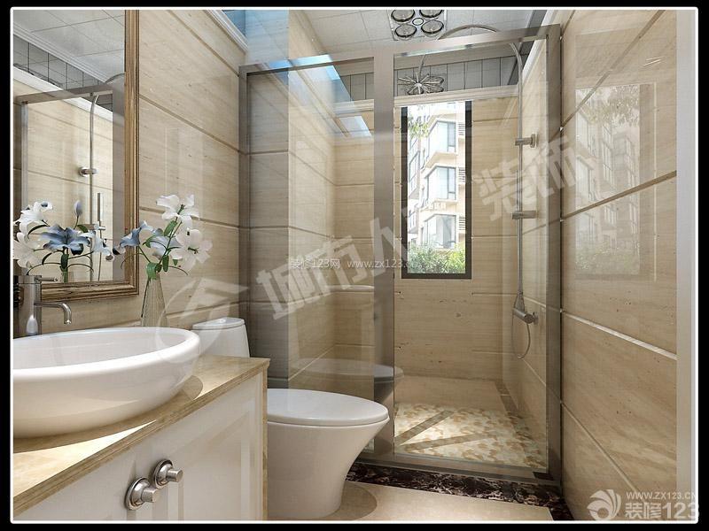 卫生间马赛克地面设计装修效果图-三室两厅中空复式天花图 图片收藏