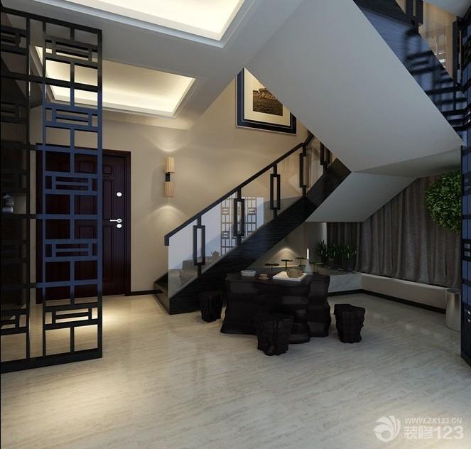 新中式风格跃层楼梯扶手设计效果图图片