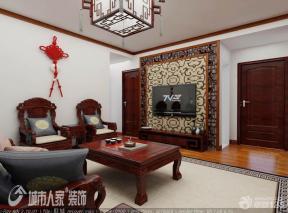 客厅装修风格 木质背景墙 背景墙造型 中式灯具 简约吊灯 顶角线 深