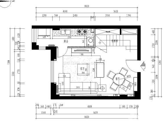 三居室平面图效果图