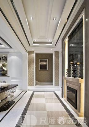 吊顶 简欧式 走廊玄关 欧式花纹壁纸 墙面壁纸 装饰画 玻璃|镜 射灯