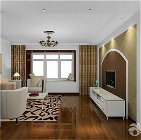 深棕色木地板 地垫 三室两厅一卫 简约装修设计 房屋客厅 暗花壁纸