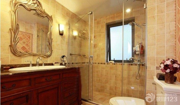 美式风格设计卫生间小格子砖墙面装修效果图图片