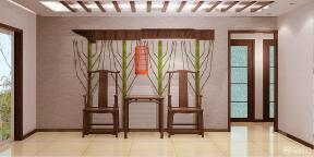 中式圖案壁紙 玄關設計 三室兩廳 家庭中式 壓紋壁紙 燈帶 簡約吊燈 黃色地磚 石膏板吊頂 木質吊頂 褐色踢腳線 白色墻面 墻面壁紙 墻面設計 木質茶幾 邊幾 靠背椅 扶手椅