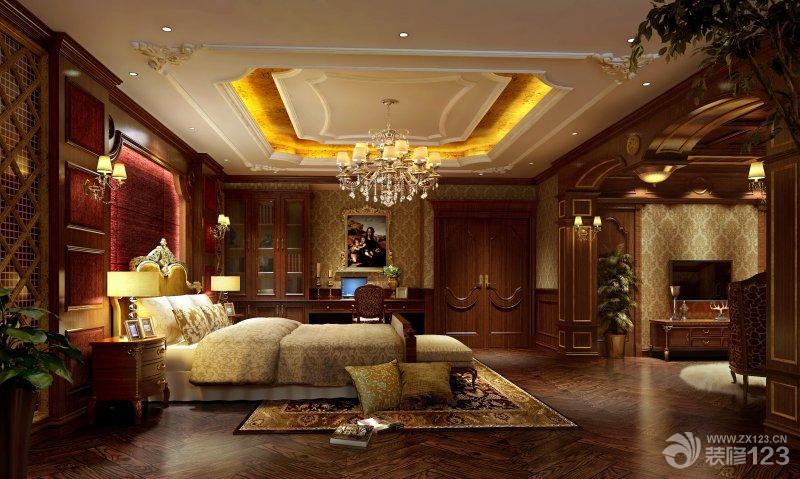 美式风格卧室深褐色木地板装修效果图图片