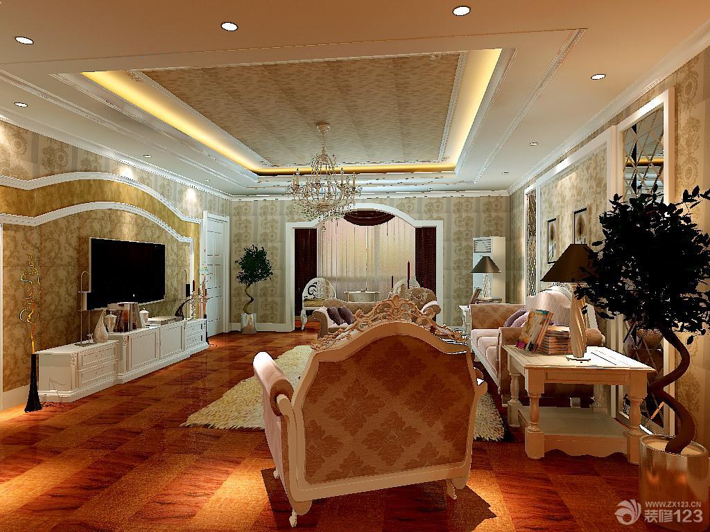 简欧式客厅吊顶壁纸装修效果图图片