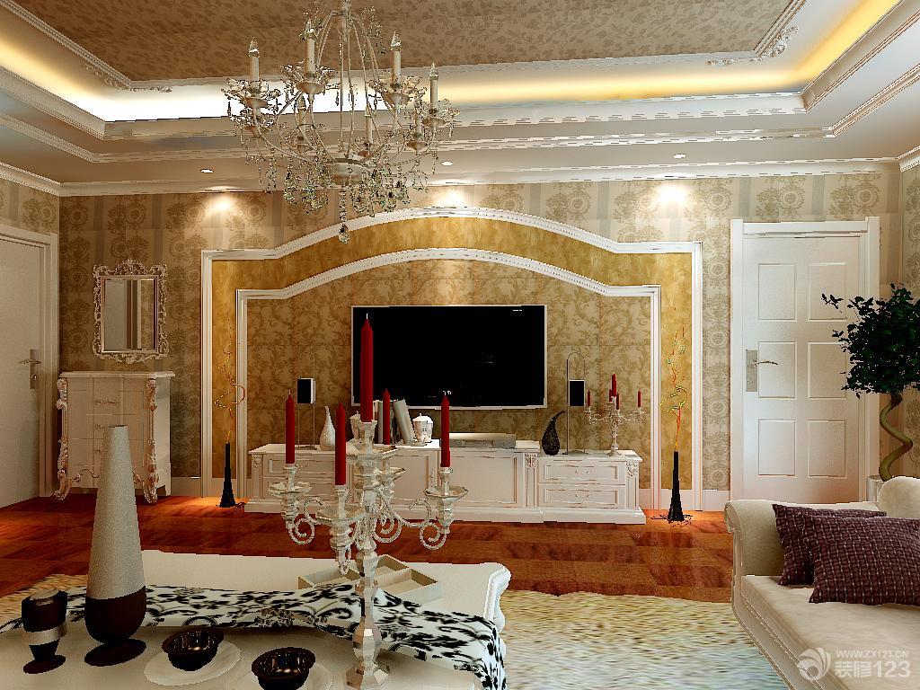 现代欧式客厅背景墙造型样板房