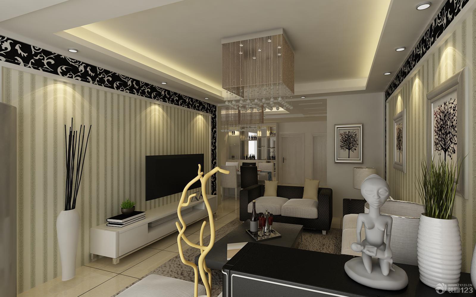 欧式家居75平小户型客厅装修设计效果图