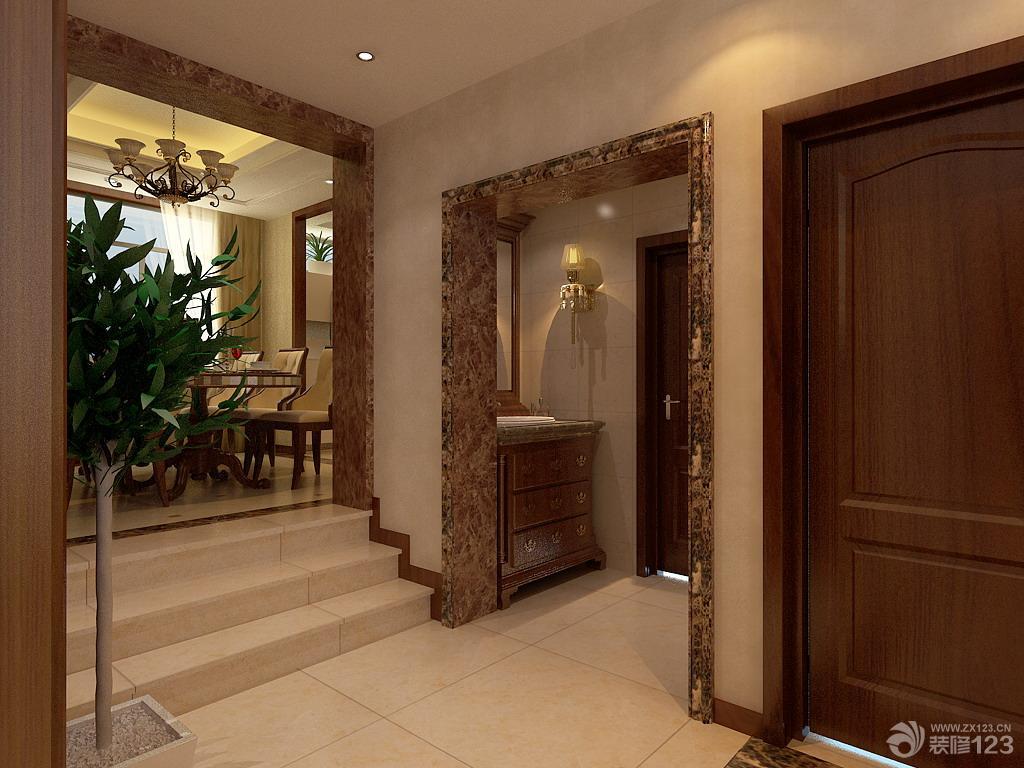 欧式客厅装修设计背景墙实景图