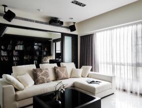 現代客廳 家裝客廳設計 時尚客廳 布藝沙發 轉角沙發 書柜 紗簾 灰色窗簾 石膏板吊頂