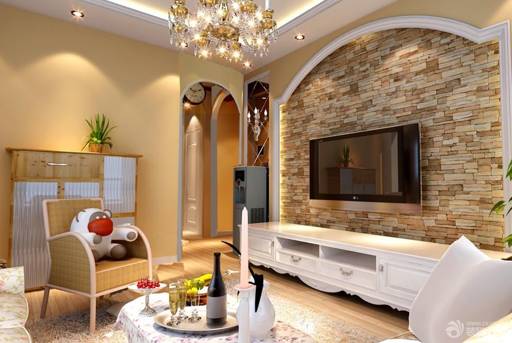 现代欧式家庭客厅电视背景墙效果图图片