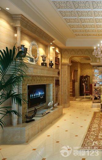 美式风格客厅装饰电视背景墙装修效果图图片