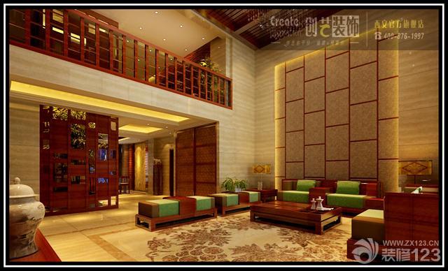 中式复式楼房大客厅沙发背景墙装修效果图