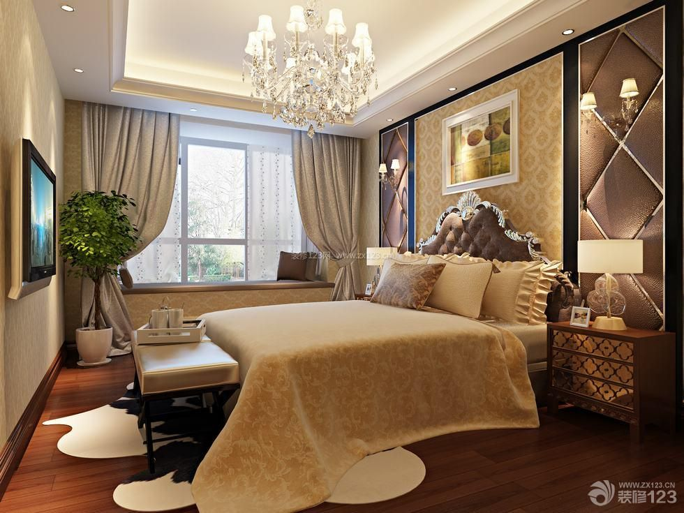 欧式风格三室两厅主卧室装修设计图