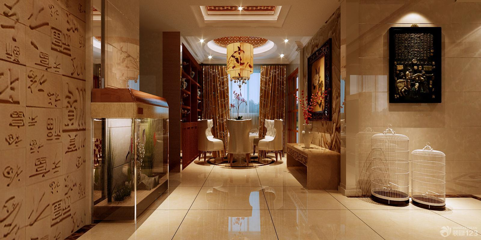 中式风格鱼缸玄关效果图欣赏图片