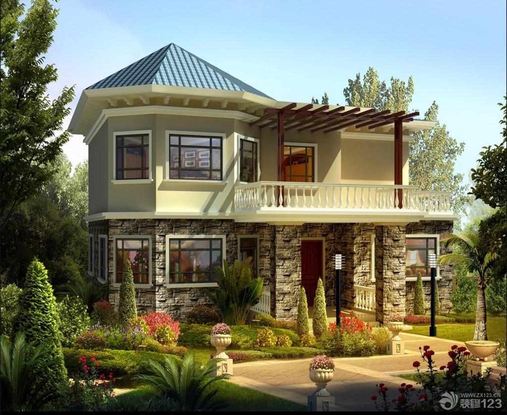 美式风格独栋别墅外观设计装修效果图