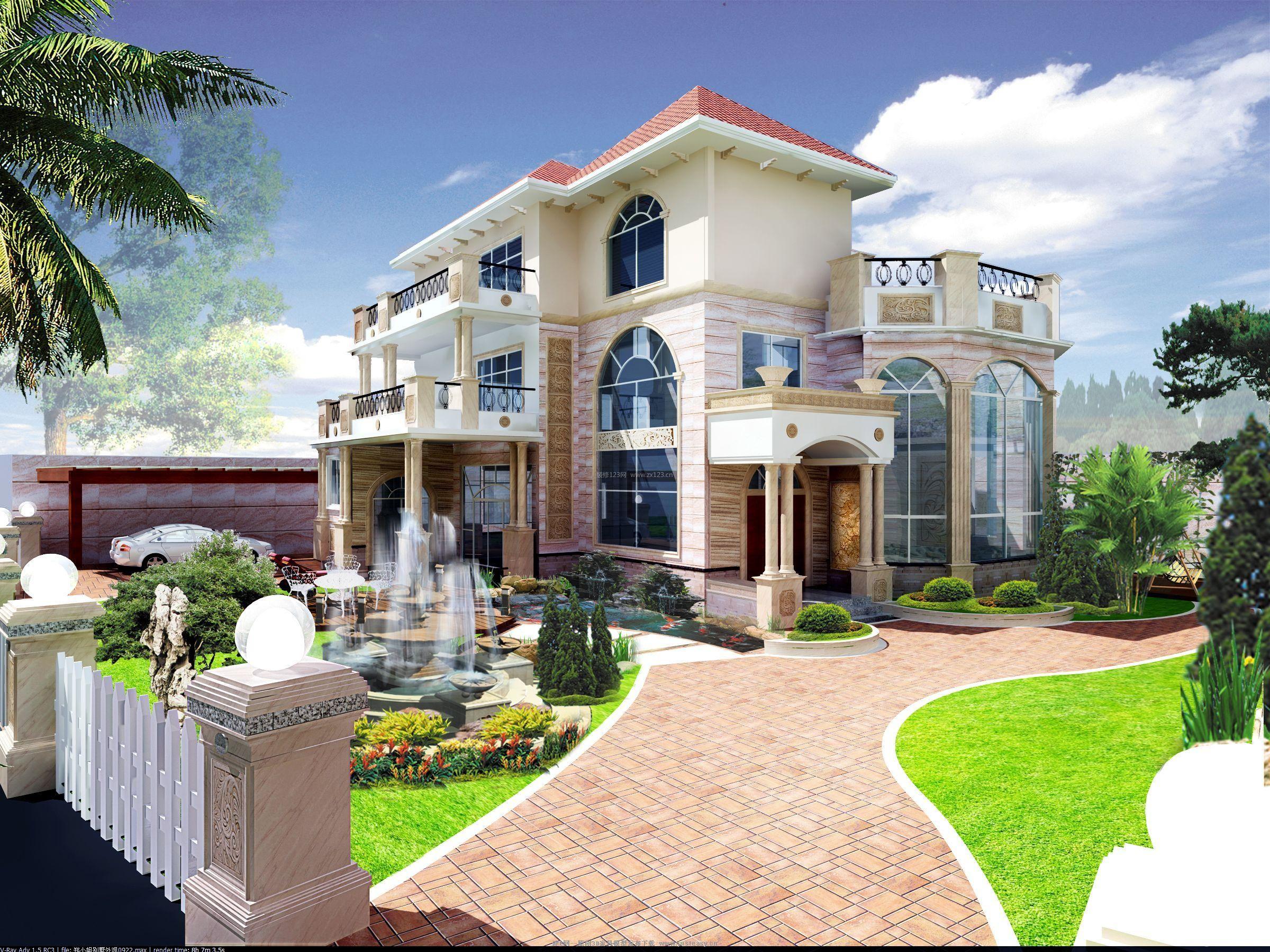 现代欧式三层别墅外观设计装修效果图_装修123效果图图片