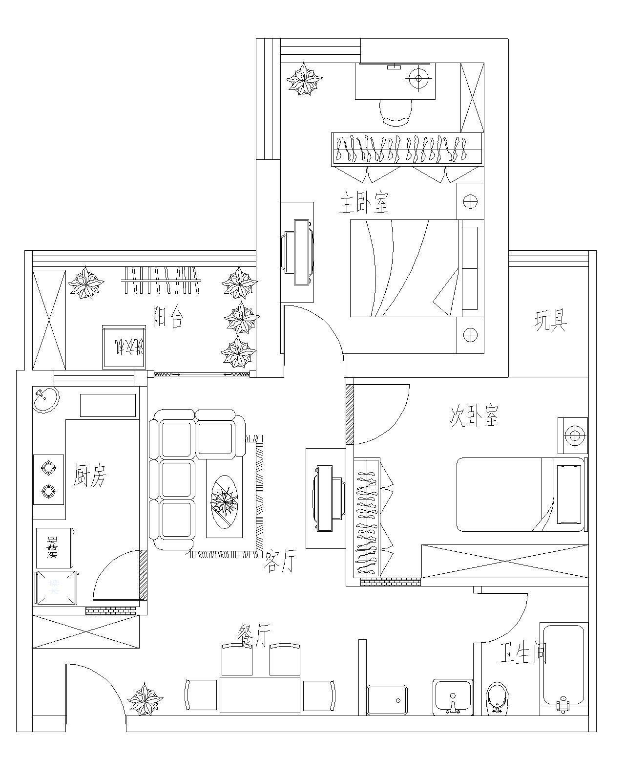 85平米两室一厅平面图