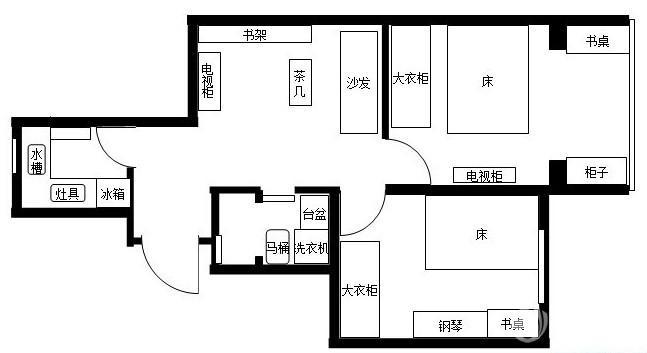 家装75平米两室一厅平面图